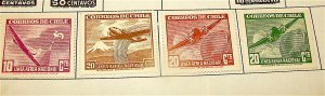 Chile---Lot of 4 Vintage Airmail Stamps---Mint Hinged OG---Circa 1948-1954