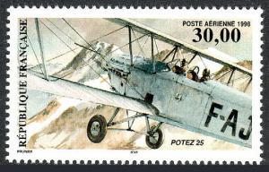 France C61, MNH. Potez 25, French Twin-Seat Single-Engine Biplane, 1997