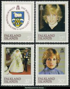 Falkland Isl. MNH 348-51 Princess Diana SCV 3.25 1982