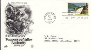 1983, 50th Anniv. Tennessee Valley Authority, Artcraft/PCS, FDC (D15163)