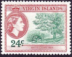 BRITISH VIRGIN ISLANDS 1956 QEII 24c Myrtle-Green & Brown-Orange SG157 FU