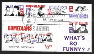 USA Scott 2562-66 Comedians RKA First Day Cover FDC (z4)