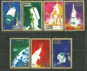 Ajman MNH Set Of 7 Apollo 16 Imperf.