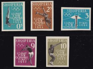 Albania 1962 Tokyo Olympic Games Complete (5) IMPERF Hinged (*)