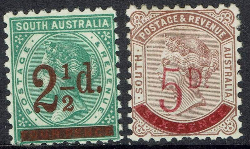 SOUTH AUSTRALIA 1891 QV SURCHARGE SET PERF 10