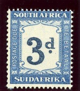 South Africa 1942 Postage Due 3d indigo & milky blue superb MNH. SG D28a.