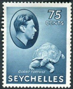 SEYCHELLES-1938 75c Slate-Blue.  A mounted mint example Sg 145
