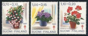 Finland B224-B226,MNH.Michel 885-887. Red Cross-1982.Flowers.