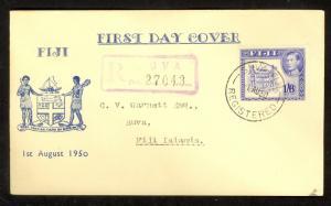 FIJI 1950 KGVI 1sh6d ARMS Scott 128A CACHET Registered FDC