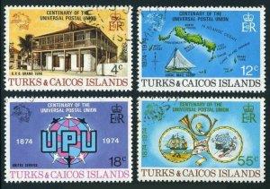 Turks & Caicos 293-296,CTO.Michel 335-338. UPU-100,1974.Map,Sailing ships,Horn.
