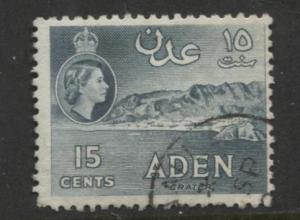 ADEN - Scott 50 - QEII Definitive- Blue Green - 1953- MVLH - Single 15c Stamp