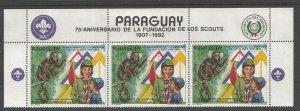1982 Paraguay Boy Scouts 75th margin strip