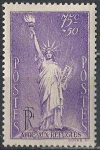 France B45 (mh) 75+50c Statue of Liberty, vio (1936-37)
