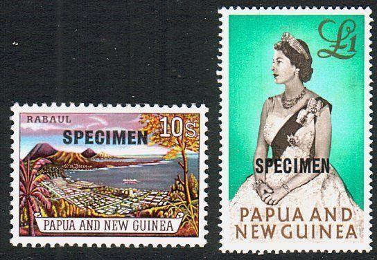 PAPUA NEW GUINEA 1963 10/- & £1 optd SPECIMEN..............................88886