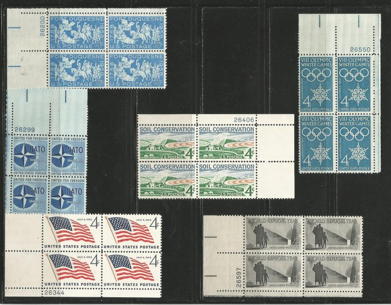 USA Stamps #1123,1127,1132,1133,1146,1149 Plate Blocks of 4