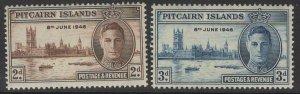 PITCAIRN ISLANDS SG9/10 1946 VICTORY MNH
