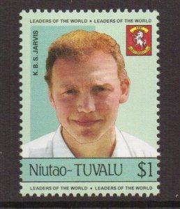 Tuvalu  Niutao  #24   MNH   1985  cricket players  $1  Jarvis