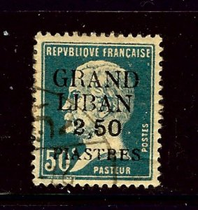 Lebanon 9 Used 1924 issue  bit of paper remnant on back      (P119)