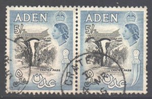 Aden Scott 58a - SG68, 1953 Elizabeth II 5/- Pair used