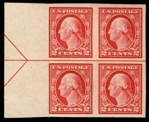 US #482 ARROW BLOCK, VF/XF mint never hinged, one stamp hinged,  Fresh Block!