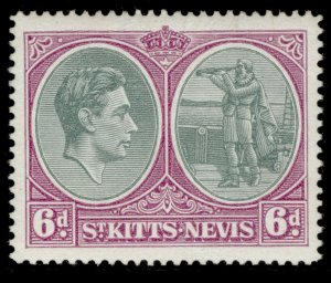 ST KITTS-NEVIS GVI SG74c, 6d green & purple, M MINT. Cat £10.