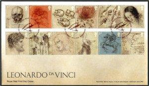 HERRICKSTAMP GREAT BRITAIN Sc.# 3803-14 Leonardo da Vinci FDC - Edinburgh