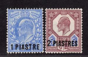 $Great Britain Offices in Turkey Sc#13+14 M/LH/VF, Cv. $50