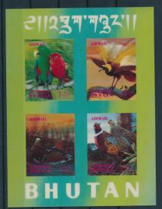 [17494] Bhutan 1969 Birds Vögel Oiseaux Ucelli Hologram 3D Sheet MNH