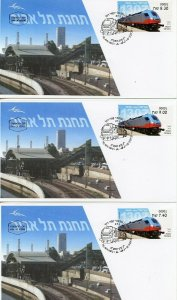 ISRAEL 2018 HIGH SPEED  TRAIN SET OF SIMA LABELS FIRST DAY COVERS