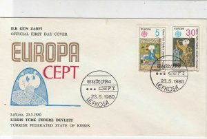 Turkish Federated Cyprus 1980 Europa CEPT Man in Turban FDC Stamps Cover Rf23625