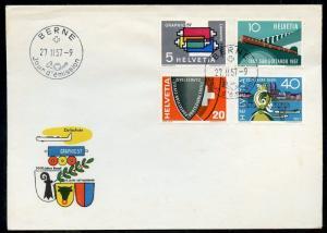 SWITZERLAND SCOTT#637/40 FRENCH CANCEL  FIRST DAY COVER