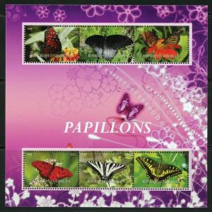 Central Africa MNH S/S Butterflies 2015 Large Size