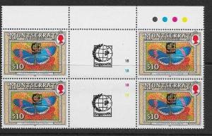 MONTSERRAT SG904 1992 $10 BUTTERFLY SINGAPORE '95 OVPT T/L GUTTER BLOCK OF 4 MNH