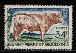 ST PIERRE & MIQUELON Scott # 373 Used 3 - Charolais Bull
