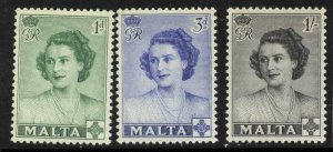 Malta 229-31 MNH Princess Elizabeth