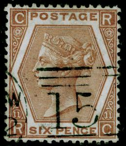 SG122, 6d deep chestnut plate 11, FINE USED. Cat £125. RC