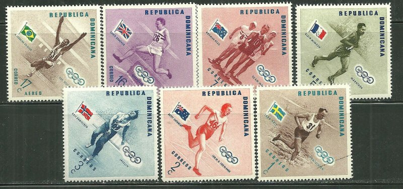 Dominican Republic MNH 479-83,C100-2 Olympic Winners & Flags 1956