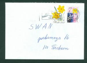 Faroe Islands. Cover 1987 Commercial. Poster Stamp Easter Flower + Sc.# 145.