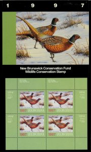 NEW BRUNSWICK #4M 1997 PHEASANT CONSERVATION STAMP MINI SHEET OF 4 IN FOLDER