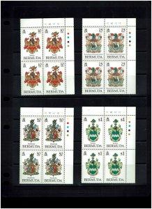 Bermuda: 1983, Coat of Arms, (1st series)  in plate blocks of 4,  Mint