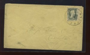 Confederate States 9 'TEN CENTS' Used Stamp on Nice Cover w/PF Cert (CSA9-PFC1)
