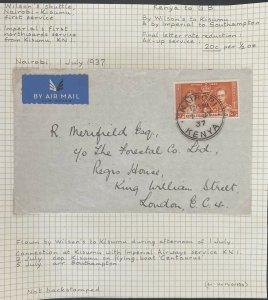 1937 Nairobi Kenya British KUT Wilson's Shuttle Airmail Cover To London England