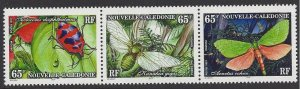 New Caledonia #761 MNH strip of 3, various insects, issued 1997