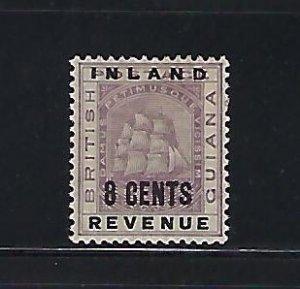 BRITISH GUIANA SCOTT #119 1889 8 CENTS  OVERPRINT- MINT HINGED