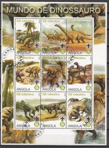 Angola, 2000 Cinderella issue. Dinosaurs sheet of 9. Canceled.