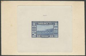 COSTA RICA #C123P DIE PROOF ON INDIA SUNK ON CARD WITH CONTROL # HV9147