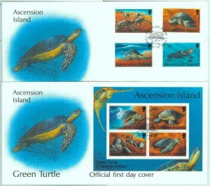 84357 - ASCENSION - Postal History - Set of 2  FDC COVER 1994 Marine Life TURTLE