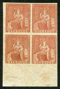 Barbados SG27a 4d No Wmk Rough Perf 14 to 16 Corner Block of Four Variety Imperf