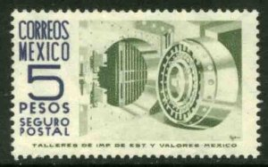 MEXICO G18, $5P 1950 DEFINITIVE 2nd PTG. INSURED LETTER, wmk 300. MINT, NH. VF.