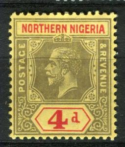 NIGERIA; NORTHERN 1912 early GV issue fine Mint hinged 4d. value, Shade